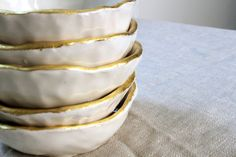 22K Gold Rim Dish  MADE TO ORDER by lovedaniella on Etsy, $28.00
