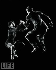 """dancers Willa Mae Ricker & Leon James showing off the Lindy Hop. The dance evolved in 1927 after Lindbergh's flight when improvisational dancers in Harlem's Savoy Ballroom caused an observer to exclaim, """"It looks like their doin' the Lindy Hop."""""""