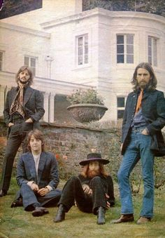 The Fab Four with Yoko Ono and Linda McCartney at Tittenhurst Park.