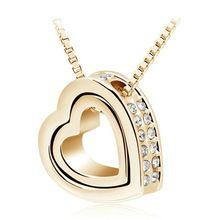 18 K ouro masculino colar de pingente de coração de cristal austríaco de moda jóias para 2016 mulheres 2891