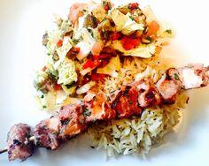 Turkmen salmon shashlik on rice with roasted eggplant salad