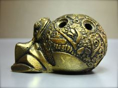 Statua gesso porta incenso rana frog