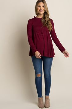 e897dc825d12d Burgundy Ruffle Trim Peplum Top Winter Maternity Outfits, Maternity Work  Clothes, Casual Maternity,
