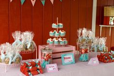 Sweetest Farm Chic Party {Kids Birthday Party}     This child's farm party is definitely chic!  The decor color combinations of red, pink and ocean blue are fantastic.  The centerpieces are simple yet chic mason jars holding red roses.  You can find all of the decor items at your local stores.