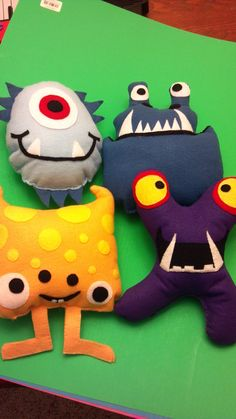 Check out these adorable felt monsters my sister-in-law Angie just whipped up in her spare time. Aren't they amazing? And they're all pattered after the little monsters on the Kleenex b…