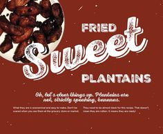BG Holiday 2014, plantains, fried sweet plantains, Cuban recipes, cooking, design, Brunet-Garcia Advertising