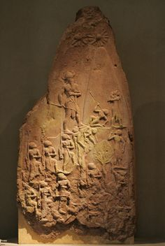 Naram-Sin Victory Stele. Naram-Sin is Nimrod mentioned in Genesis (10:8). The Bible says he was king of the city of Akkad among others (Genesis 10:10). He was the first mesopotamian king known to have claimed divinity for himself. The stele was found in Susa Iran, and is now in the Louvre Museum in Paris.