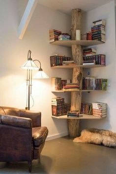 5 Amazing Tricks: Natural Home Decor Interior Design natural home decor living room inspiration.Natural Home Decor Diy Air Freshener natural home decor diy air freshener.Natural Home Decor Living Room Window. Tree Bookshelf, Rustic Bookshelf, Bookshelf Design, Tree Shelf, Bookshelf Ideas, Creative Bookshelves, Shelving Ideas, Storage Ideas, Bookshelf Decorating