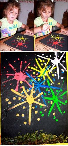 vuurwerk / nieuwjaar Tissue Paper Crafts, Toilet Paper Roll Crafts, Craft Stick Crafts, Fireworks Craft, New Year Fireworks, New Year's Crafts, Fun Crafts, Crafts For Kids, Kindergarten Art