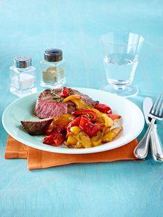 Low Carb Abendessen: Rinderhüftsteak mit Paprikagemüse