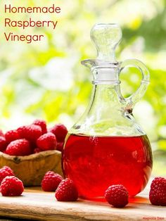 How to make homemade raspberry vinegar by infusing fresh raspberries into vinegar. It's so easy to do. The vinegar has bright berry flavor and a hint of lemon. #SundaySupper