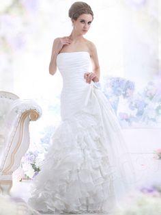 マーメイドドレス ビスチェ コートトレーン オーガンジー アイボリー ウェディングドレス B20343