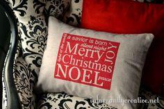 DIY Home Decor | DIY Christmas Crafts | Make a DIY Christmas subway art pillow inspired by Pottery Barn!