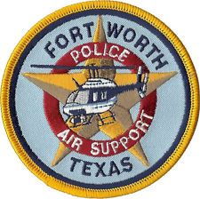 "Fort Worth Police Air Support Texas Shoulder Patch - 3 1/2"" diameter - NEW"