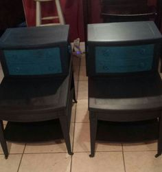 Hand chalk painted Turquoise and black and glazed. $195 for the pair.