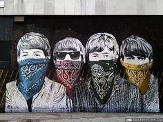 The Beatles ~ (street art, great, amazing, beautiful, cool, interesting, creative, mural, wall painting)