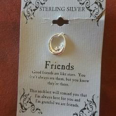 """Engraved Friends Pendant & Chain, Sterling Silver This beautiful starry inspirational friends necklace is engraved """"Good friends are like stars"""" and is sterling silver which means it will never, ever tarnish and is hypoallergenic!  Card reads: """"Good friends are like stars. You don't always see them but you know they're there. This necklace will remind you that I'm always here for you and I'm glad we're friends.""""  Proceeds go to the mental health cause.  Pendant 1.75mm x 2 mm. Chain 18""""…"""