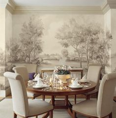 Cotswolds Earth wall mural (muralpapers) by Susan Harter in a dining room with round table. Come see Peaceful Timeless Trompe-l'oeil Wall Murals to Inspire as well as breathtaking design inspiration. Scenic Wallpaper, Room Wallpaper, Custom Wallpaper, Dining Room Walls, Dining Room Design, Design Table, Bathroom Design Inspiration, Design Ideas, Elegant Dining Room