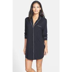 Women's Nordstrom Lingerie 'Moonlight' Nightshirt ($49) via Polyvore featuring intimates, black, night shirt and sleep shirts