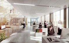 Arkitema Designs Municipal Office Building for Aarhus,Interior Rendered View. Image Courtesy of Arkitema Architects