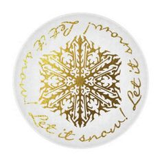 Let It Snow gold tone snowflake glass cutting board, a great gift for the holiday season