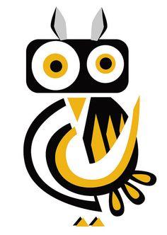 black & yellow owl by Simone Spellucci