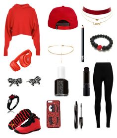 """Black and red look"" by rainn1233 on Polyvore featuring TIBI, Wolford, Charlotte Russe, NIKE, Beats by Dr. Dre, Chiara Ferragni, MAC Cosmetics, Essie, NARS Cosmetics and Lancôme"