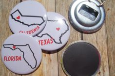 50 State Bottle Opener Keychain State and by BlankCanvasButton, $2.50