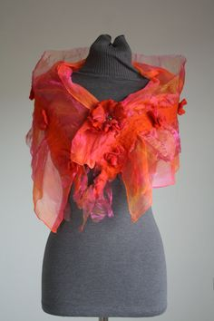 """Handmade Silk & Nuno Felt Wrap """"Flame Lily"""" - I absolutely adore these colors!!! Need it <3<3<3"""
