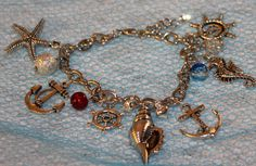 Nautical Inspired Anchor Chain Bracelet Shell by musicissanity, $12.99