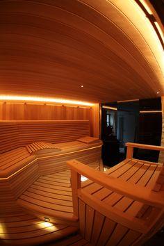 Custom sauna on Staten Island, with custom lighting, sink, and benches Modern Saunas, Sauna Steam Room, Sauna Design, Custom Lighting, Relax, Exterior, Staten Island, Hot Tubs, Spas
