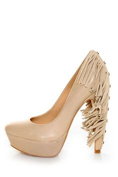 Report Signature Targee Tan Fringe Platform Pumps - $189.00