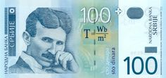 100 dinar banknote featuring the scientist Nikola Tesla Original uploader was Meelosh at en.wikipedia. Later version(s) were uploaded by Avala at en.wikipedia. - Transferred from en.wikipedia; transferred to Commons by User:Goldorak using CommonsHelper. 100 Serbian dinar banknote, 2006 issue, front. From the site of the National bank of Serbia ([1])