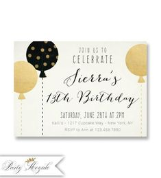 Black and Gold Teen Birthday Invitations, or Any Age, Birthday Pa. Black and Gold Teen Birthday Invitations, or Any Age, Birthday Party Invites for Tee Teen Girl Birthday, 14th Birthday, 50th Birthday Party, Birthday Ideas, Balloon Birthday, Birthday Celebration, Happy Birthday, Teen Birthday Invitations, Surprise Party Invitations