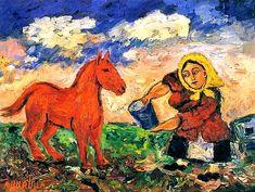 Давид Бурлюк «Крестьянка и лошадь»