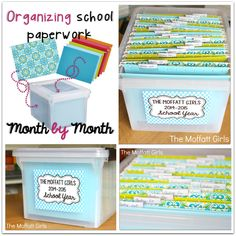 Tired of the paper clutter? Get Organized! An easy month by month file system will help keep the important papers for the school year!