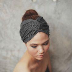 Dark Heather Gray, bandeau Turban Twist, collection de couleur unie, bandeau d