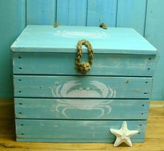 Crab Crate Side Table Treasure Chest Trunk in Turquoise