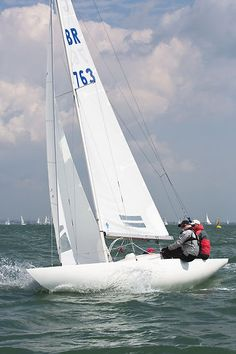 The Dragon class sailboat 'Bertie' racing during Cowes Week 2013