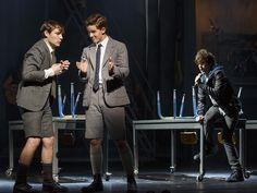 Daniel Durant as Moritz and Austin McKenzie as Melchior and Alex Boniello as Voice of Moritz. Photo by Joan Marcus.