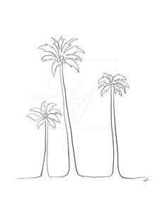 Tree Drawing Simple, Simple Line Drawings, Easy Drawings, Palm Tree Sketch, Tree Sketches, One Line Tattoo, Line Tattoos, Tattoo Outline, Outline Drawings