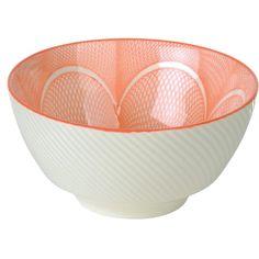 Die komplexen, ineinanderlaufenden Bögen und Linien schaffen in Kombination mit den eingeprägten Wellen auf der Außenseite ein fesselndes Design und machen dieses Reisschüssel-Set dank seiner prachtvollen Farbe zum eindrucksvollen Hingucker.