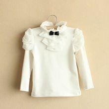 Niños moda marca niñas otoño primavera blusa de algodón, chica Kids Solid Retro blusa Baby Girls princesa Bowknot Shirts(China (Mainland))