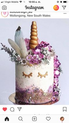 Chocolate Stars, 4th Birthday Cakes, Purple Cakes, Floral Cake, Girl Cakes, Cute Cakes, Cake Art, Party Cakes, Fun Desserts