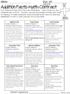 Addition Facts Math Contract - Love this Tic Tac Toe Idea for HW Fact Practice Some Ideas would just need to be redone :)
