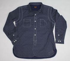 LOFGREN 1920's Style Indigo Dyed Polka Dot Print Wabash Shirt