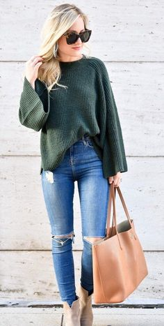 #pretty #winter #outfits /  Green Knit // Destroyed Skinny Jeans // Camel Leather Tote Bag // Beige Suede Booties