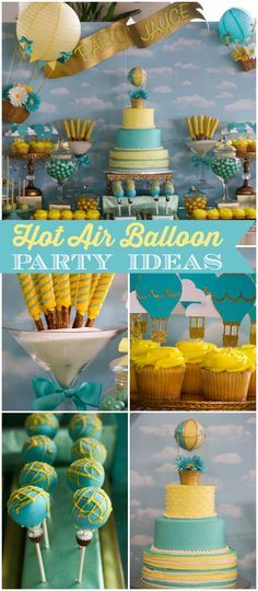 Loving this stunning hot air balloon baby shower! See more party ideas at CatchMyParty.com!