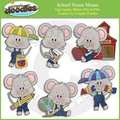 AASDDD4547 School House Mouse Clip Art Download - $2.00 : Scrappin Doodles, Creative Clip Art, Websets & More