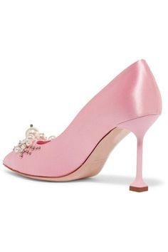 Miu Miu - Embellished Satin Pumps - Baby pink - IT38